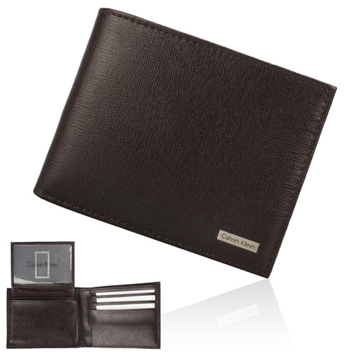 Calvin Klein 皮革金屬LOGO多卡短夾鎖圈禮盒-咖啡色