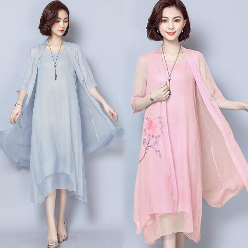 【韓國KW】(預購) 2XL~4XL曼舞倩影桑蠶絲二件套洋裝外套