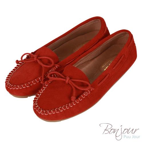BONJOUR手工麂皮豆豆鞋☆內裡厚墊真皮平底鞋【ZB0129】紅(35-42大尺碼)