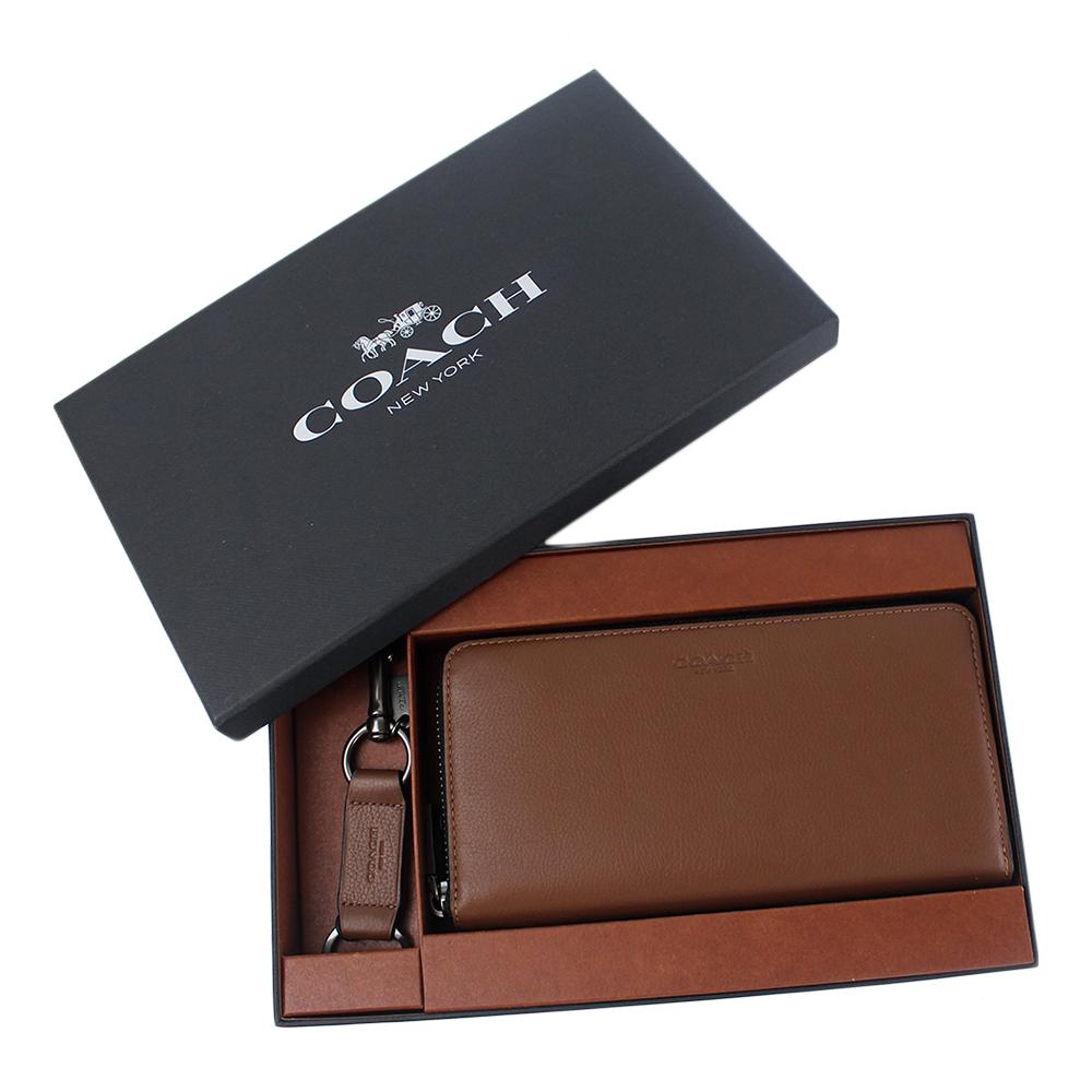 COACH 男款素面荔枝紋真皮拉鍊長夾/鑰匙圈禮盒組-焦糖色