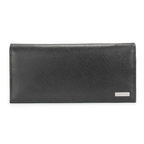 Calvin Klein CK鐵牌LOGO防刮皮革對折長夾禮盒-黑色