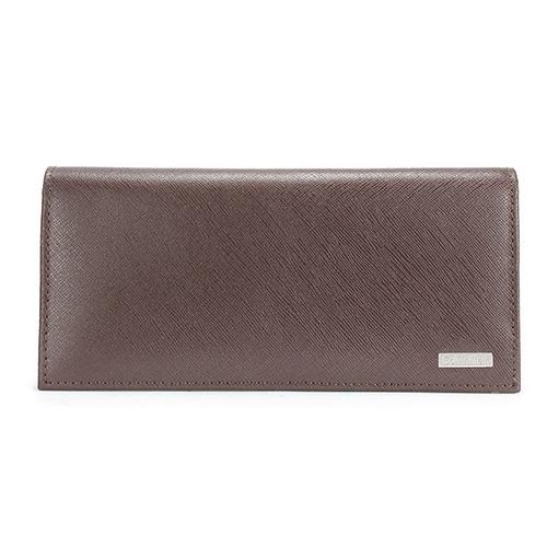 Calvin Klein CK鐵牌LOGO防刮皮革對折長夾禮盒-咖啡色