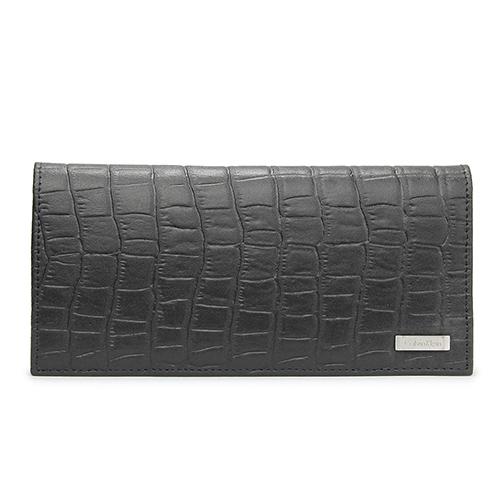 Calvin Klein CK鐵牌LOGO鱷魚紋皮革對折長夾禮盒-黑色