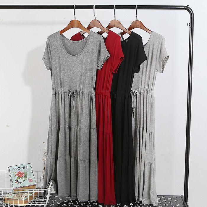 【韓系女衫】短袖圓領綁帶收腰蛋糕裙款莫代爾薄料彈力純色連衣裙-4色