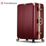 【Travelhouse】鑠金風華 29吋PC拉絲紋鋁框行李箱(暗紅金-PLUS)
