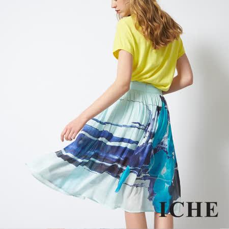 輕時尚印花膝下百搭造型長圓裙