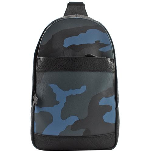 COACH 限量迷彩拼接皮革單肩後背包.黑邊