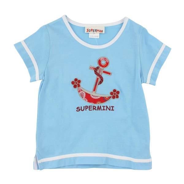 【愛的世界】SUPERMINI 純棉圓領海盜船短袖T恤-藍/4~6歲-台灣製-