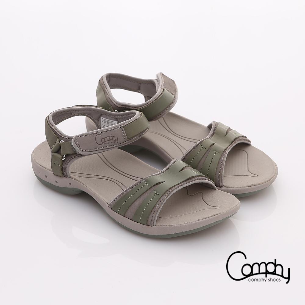【Comphy】隨手拖系列 全真皮率性一字可調整自黏帶涼拖鞋(淺綠)