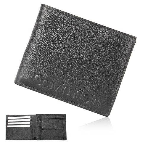 Calvin Klein CK 壓印LOGO荔枝紋零錢袋短夾禮盒-黑色
