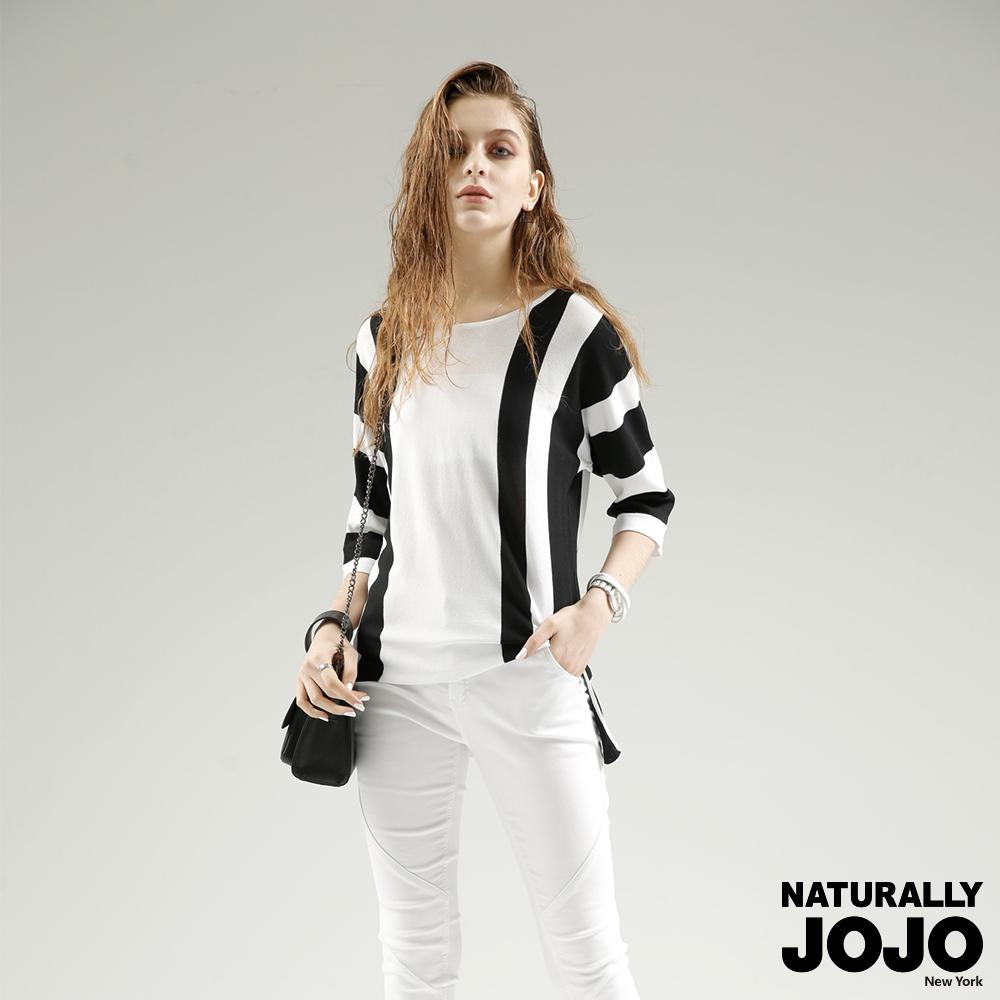 【NATURALLYJOJO】寬版直條側衩線衫(白)