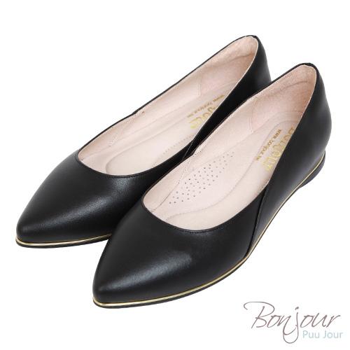 BONJOUR☆3M防水耐髒!2cm尖頭內增高真皮平底鞋hidden heel flats【ZB0317】黑
