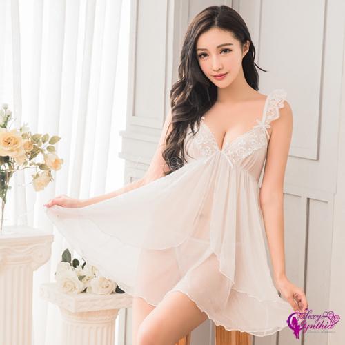 【Sexy Cynthia】性感睡衣 純白柔紗荷葉肩帶二件式性感睡衣