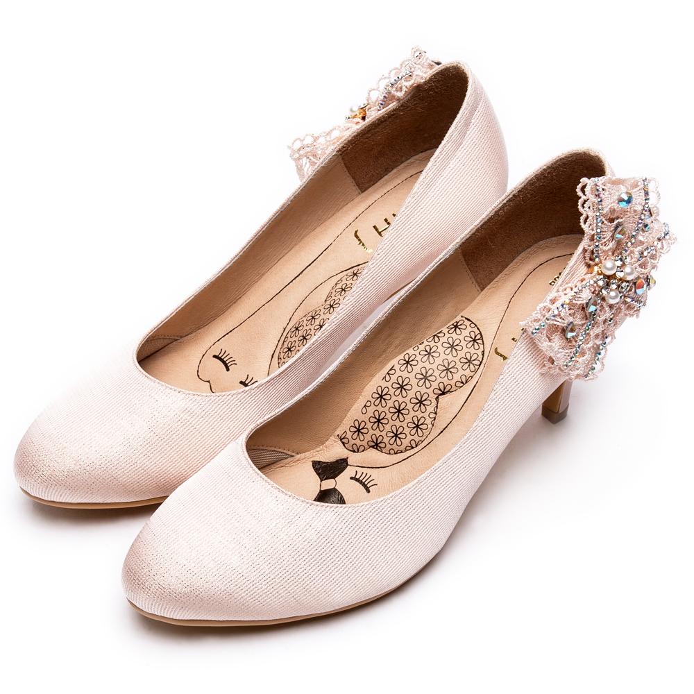 DIANA 漫步雲端瞇眼美人款--側蕾絲蝴蝶結氣質典雅跟鞋 – 粉