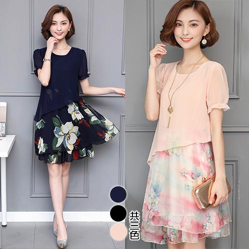 【韓國KW】(預購) XL-3XL百花齊放韓國仿絲洋裝