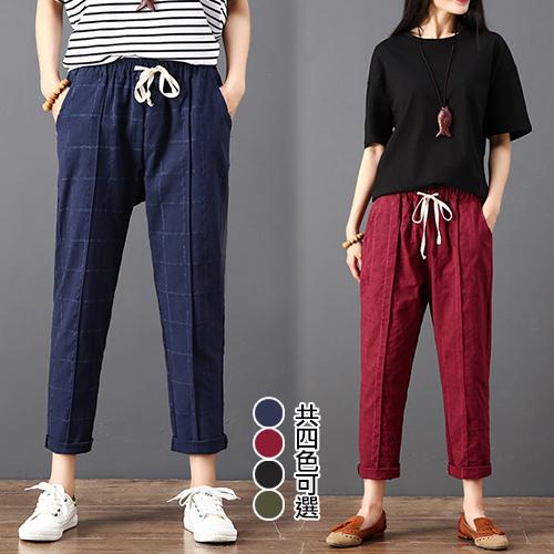 【韓國KW】L-2XL 亞麻涼感細格紋褲