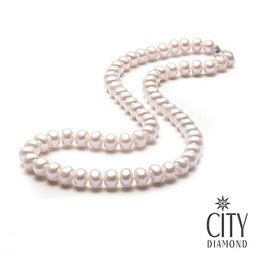 City Diamond引雅 天然扁圓淡水珍珠 6-7mm珍珠項鍊 PN00904