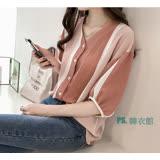 PS.韓衣館--輕時尚條紋V領縮口五分袖 襯衫--多色M-2XL