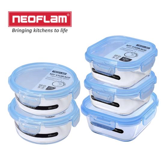 韓國NEOFLAM 耐熱玻璃保鮮盒5件組