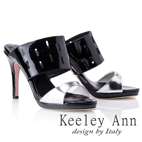 Keeley Ann俐落時尚~造型鏤空寬帶高跟拖鞋(黑色511981110)
