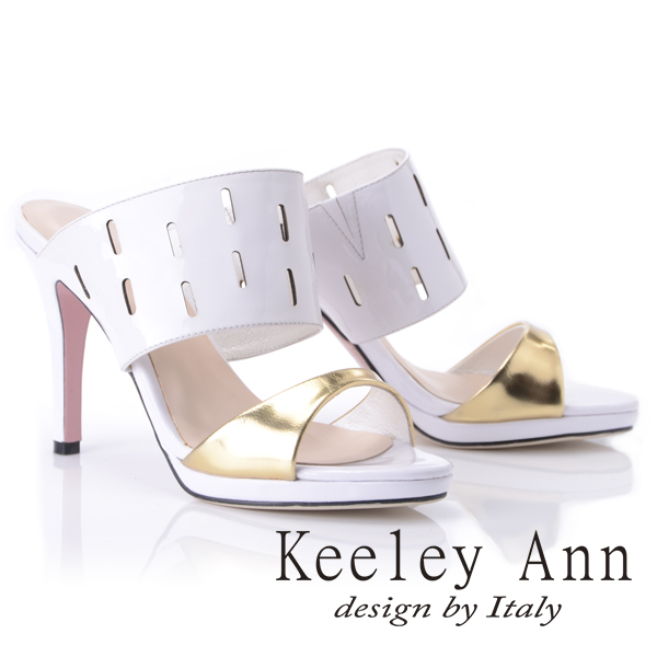 Keeley Ann俐落時尚~造型鏤空寬帶高跟拖鞋(白色511981140)