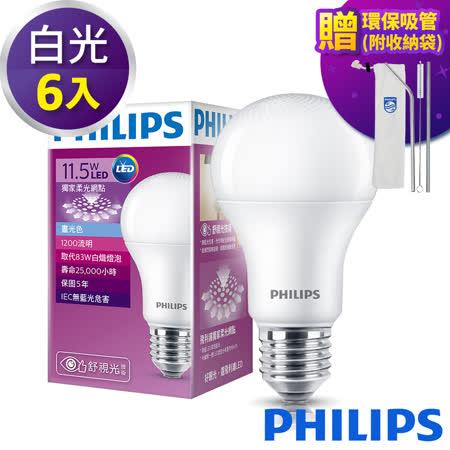 PHILIPS飛利浦 舒視光護眼 11.5W LED燈泡(6入)