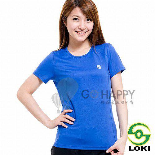 LOKI 女 VANA 圓領抗UV短袖排汗衣(炫目藍)