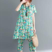 O-ni O-ni印花系列捕夢網涼爽舒適棉麻套裝-藍綠色(M~2XL)