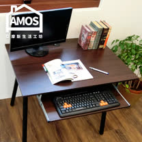 【Amos】環保粗管90公分桌面附鍵盤工作桌/電腦桌