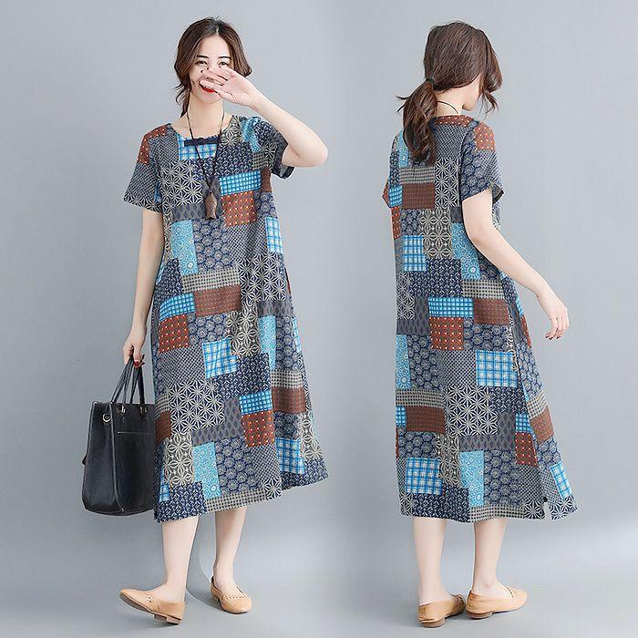 【Maya 名媛】M~2XL夏季棉麻福氣拼布短袖洋裝-2色