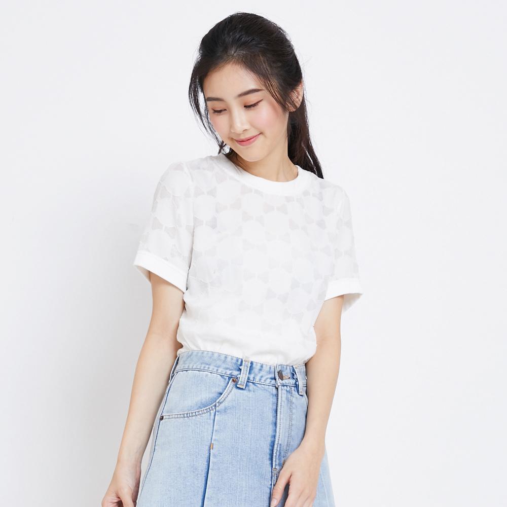 SOMETHING 異素材圓領短袖T恤-女-白色