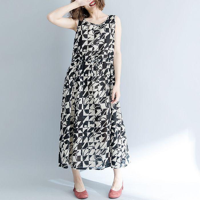 【Maya 名媛】輕薄絲雪紡料黑米無律圖綁帶收腰洋裝