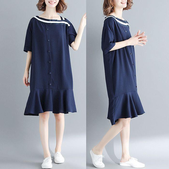【Maya 名媛】L~XL不規則白線條領口小海軍裙擺短袖洋裝