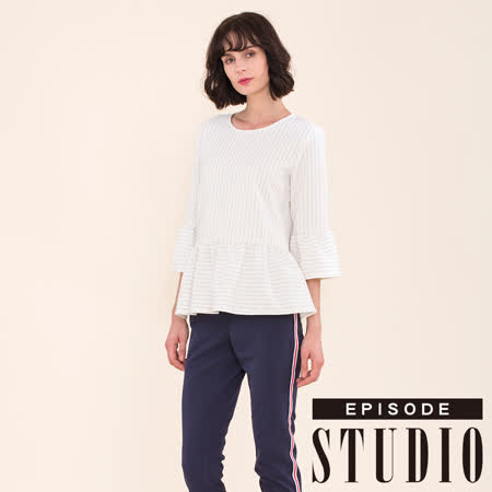 EPISODE Studio 條紋荷葉設計上衣