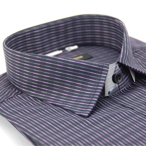 【金安德森】黑底紫白變化條紋窄版長袖襯衫