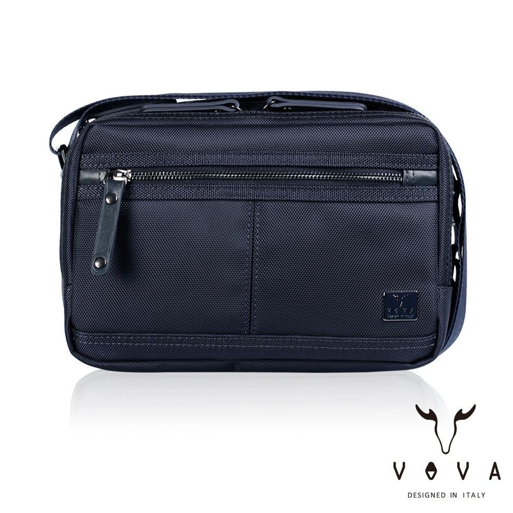 【VOVA】天際系列橫式雙層斜背包-中(天際藍)VA117S01BL