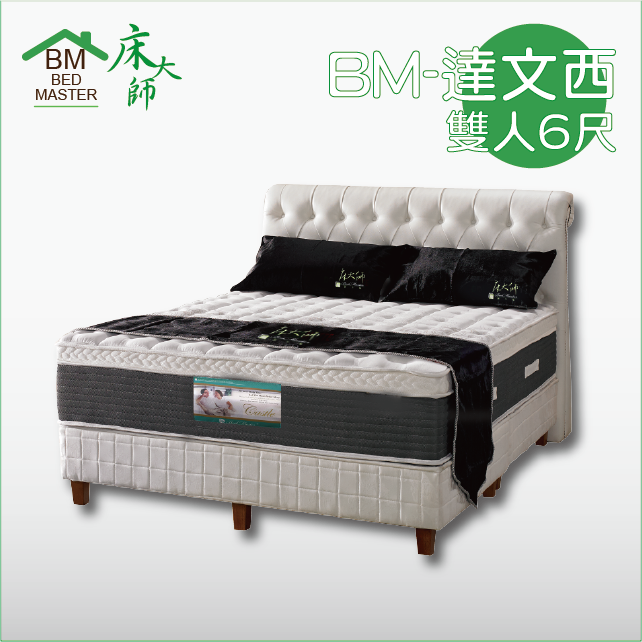 床大師名床 進口布天然乳膠雙層波浪獨立筒床墊 6尺雙人加大 (BM-達文西)