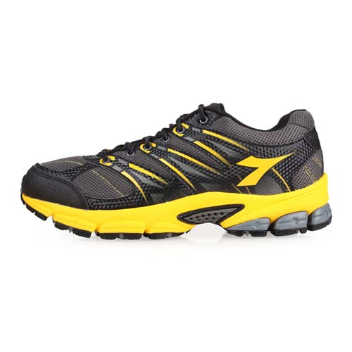 (男) DIADORA 越野慢跑鞋-登山 健走 露營 防潑水 路跑 灰黑黃