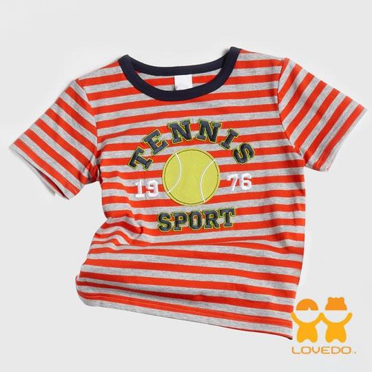 【LOVEDO-艾唯多童裝】活力網球 拼布條紋短袖T恤 (橘灰)