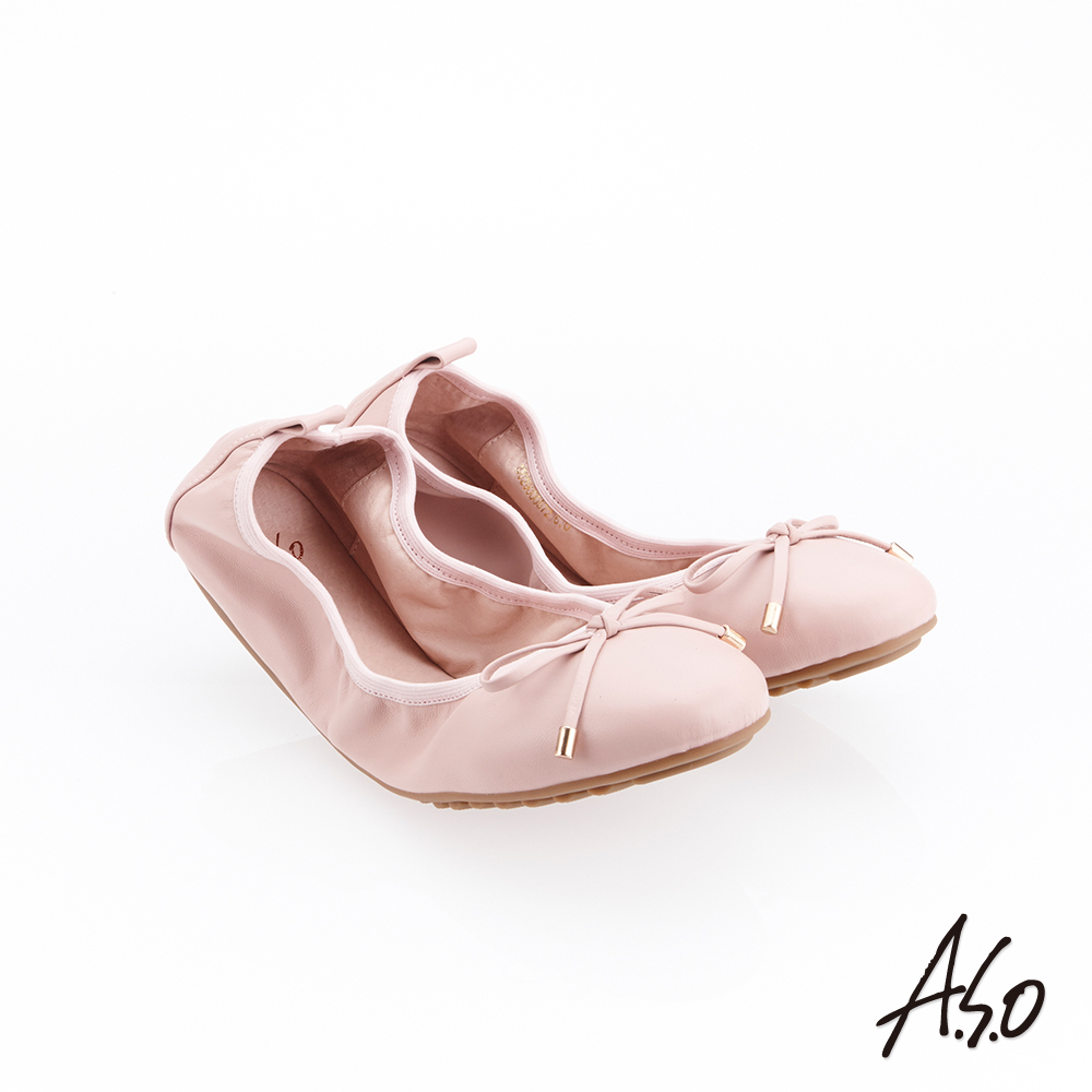 A.S.O 輕履鞋 綁帶軟羊皮可折疊娃娃鞋(粉紅)
