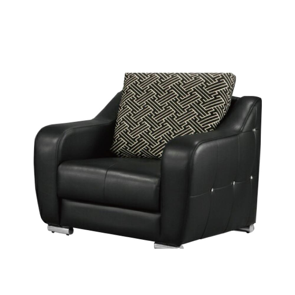 AS-溫德爾半牛皮單人坐黑沙發-103x93x92cm