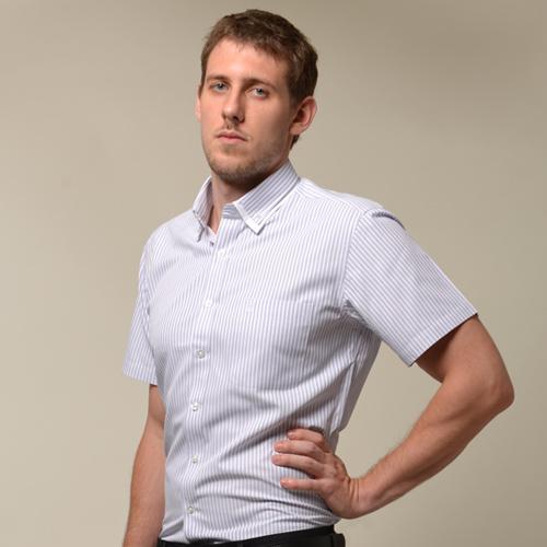 【金安德森】條紋雙領窄版短袖襯衫