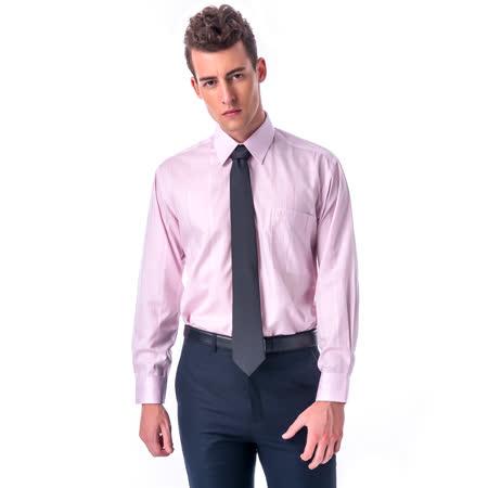 金安德森 經典格紋繞領粉色暗紋長袖襯衫