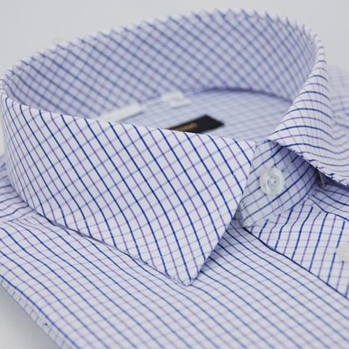 【金安德森】紫藍格紋窄版短袖襯衫