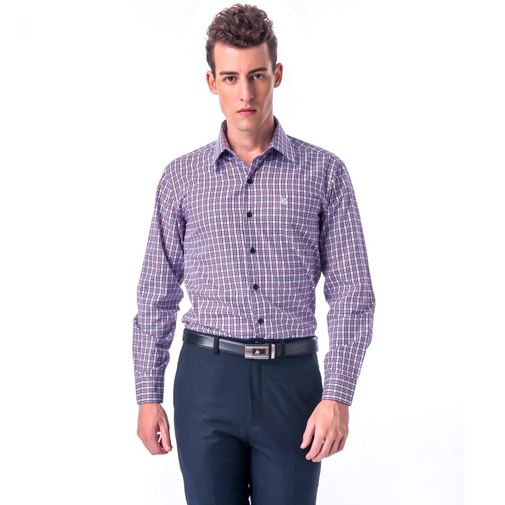 【金安德森】白底藍紅格紋相間窄版長袖襯衫
