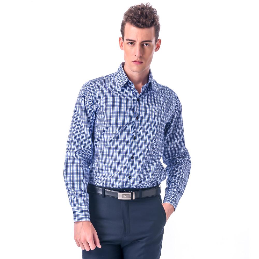 【金安德森】白底深淺藍格紋相間窄版長袖襯衫