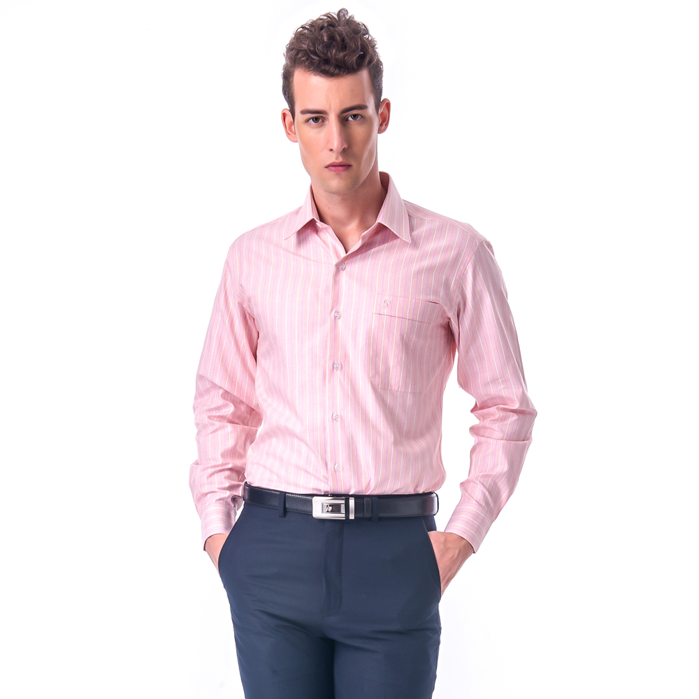 【金安德森】粉橘底白粉條紋窄版長袖襯衫