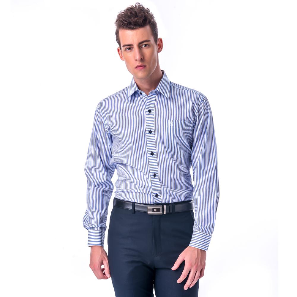 【金安德森】白底深淺藍條紋變化門襟窄版長袖襯衫