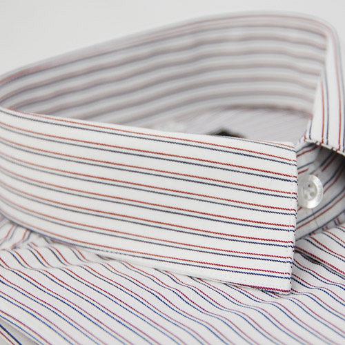【金安德森】藍紅條紋窄版長袖襯衫