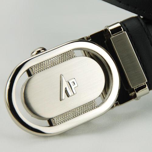 【Alpaca雅派】銀色圓頭鏤空黑帶身紳士自動腰帶